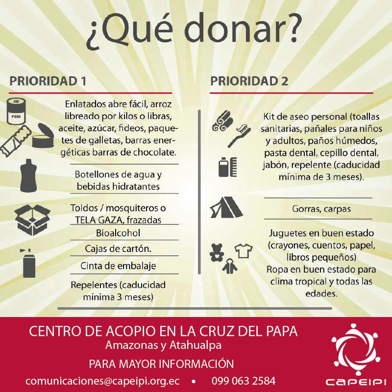 DONATIVOS TERREMOTO ECUADOR (INFORMACIÓN)