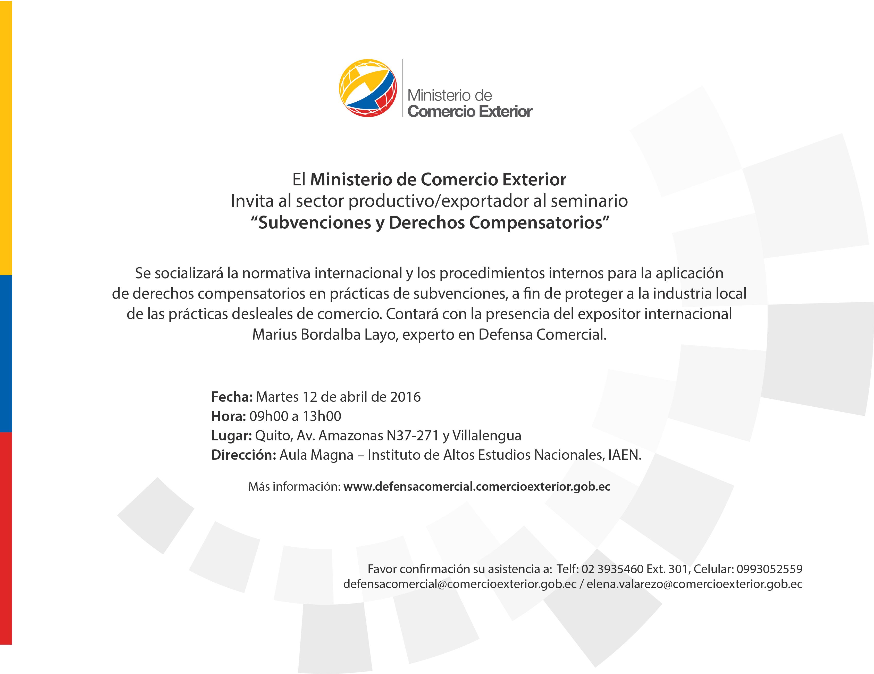 INVITACIÓN TALLER SUBVENCIONES Y DERECHOS COMPENSATORIOS