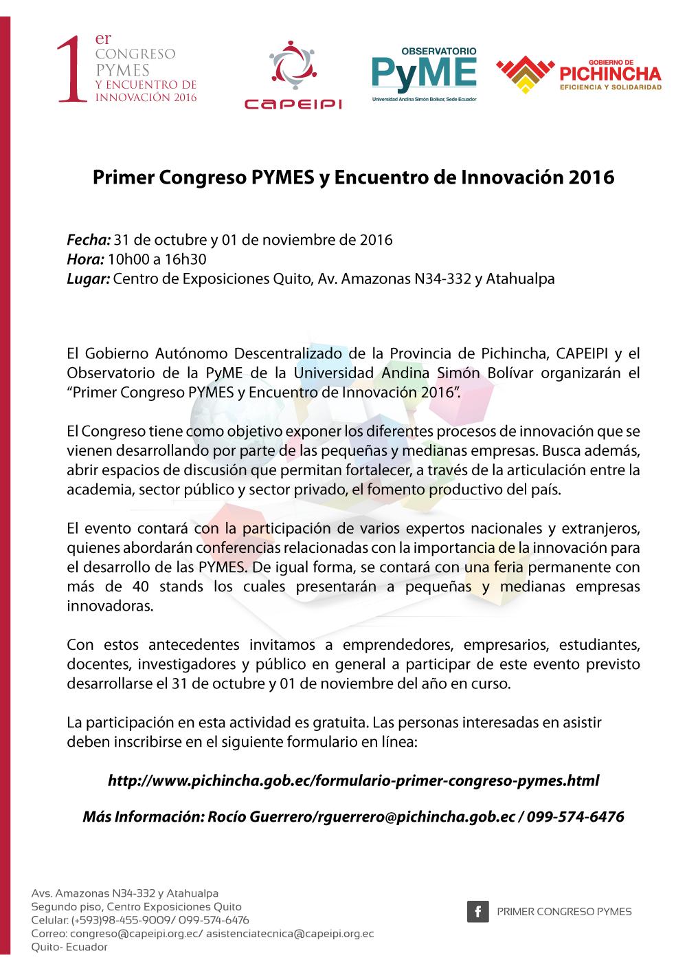 CONVOCATORIA ABIERTA CONGRESO PYMES 2016