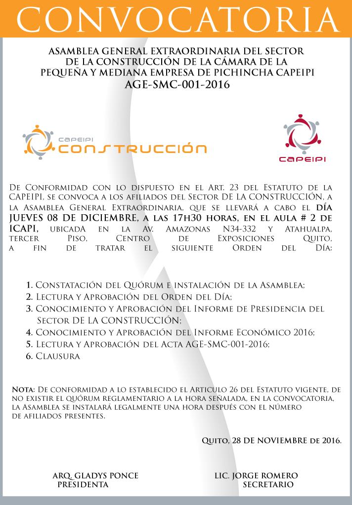 Sector Construcción/ Convocatoria Asamblea de Socios